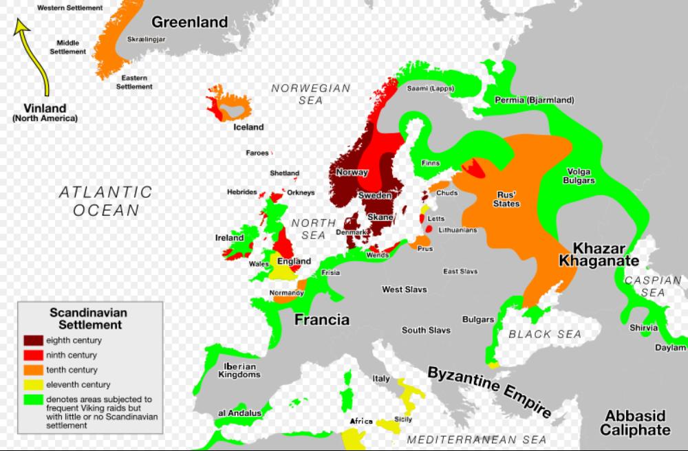 8世纪-11世纪维京人在欧洲扩张的示意图图片
